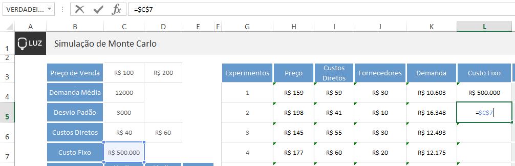 Simulação de Monte Carlo no Excel - custos fixos