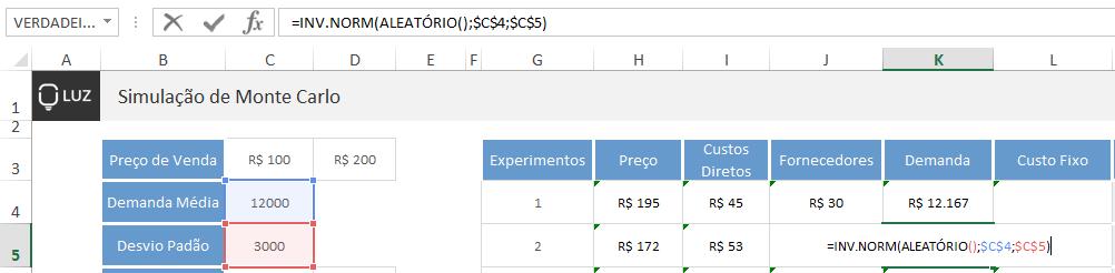 Simulação de Monte Carlo no Excel - demanda