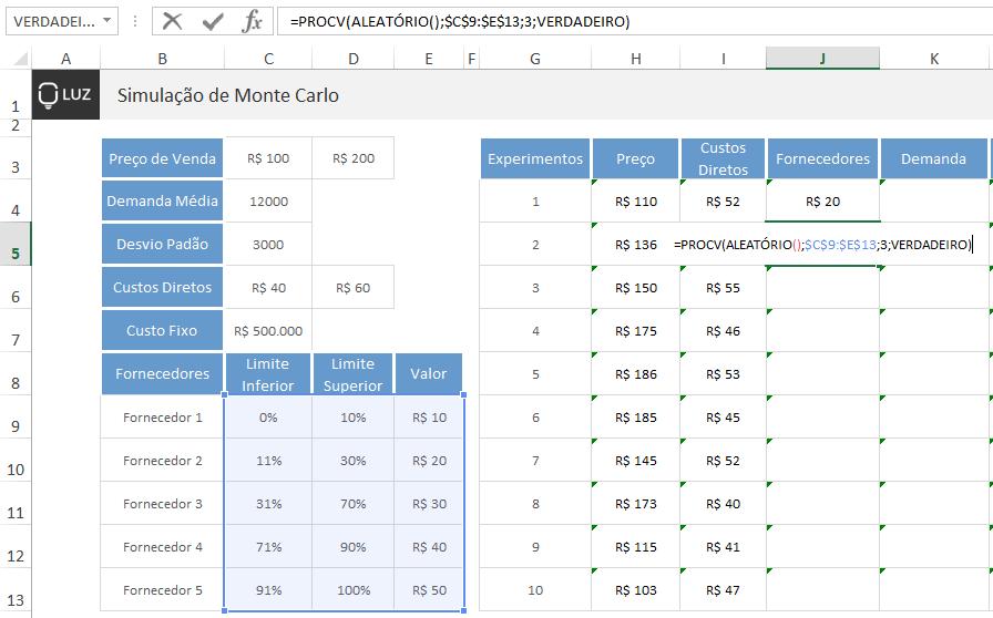 Simulação de Monte Carlo no Excel - fornecedores