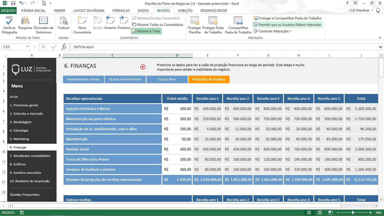 Plano financeiro no Plano de Negócios - projeção de receitas