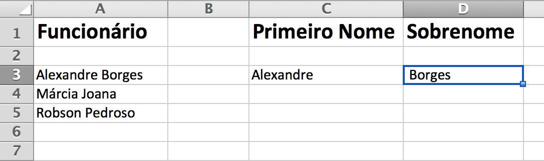 funções direita e esquerda - sobrenome