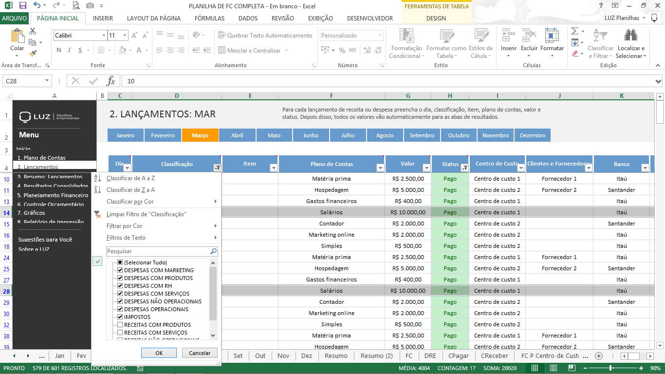 gestão financeira completa - análise de demonstração de fluxo de caixa
