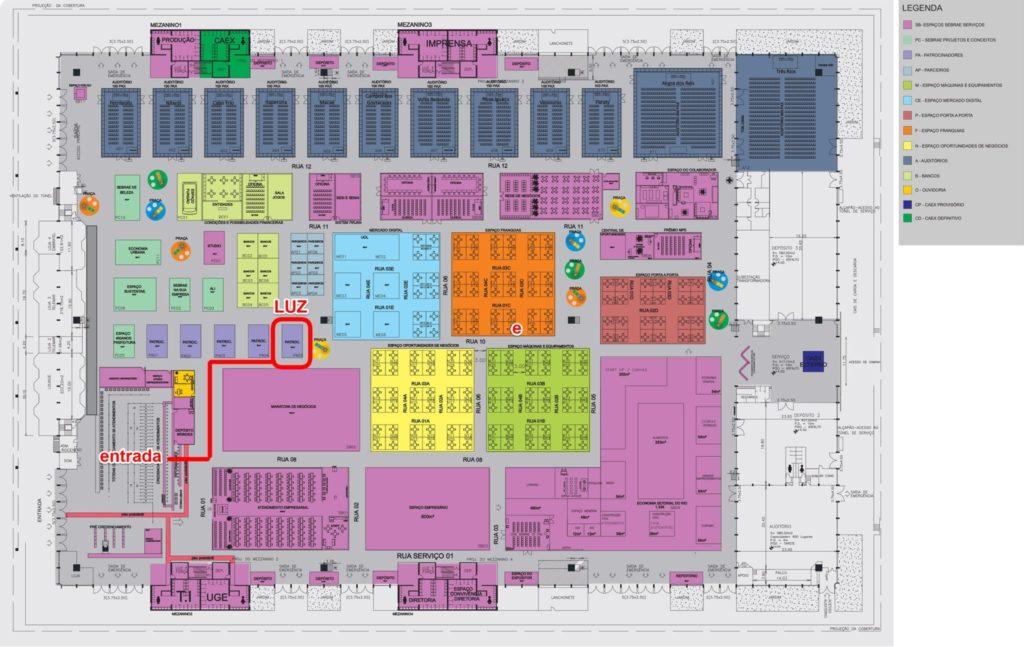 Mapa da Feira do Empreendedor - Localização da LUZ Planillhas