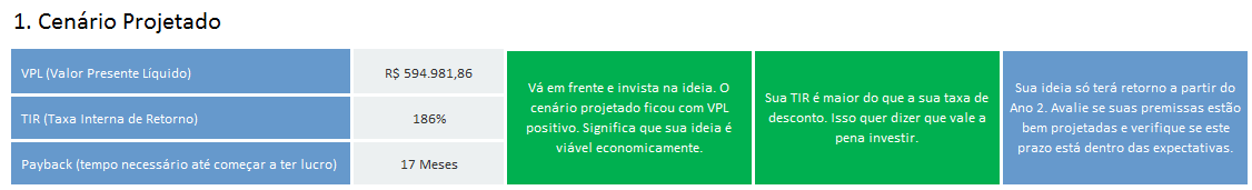 indicadores de viabilidade economica - viabilidade final