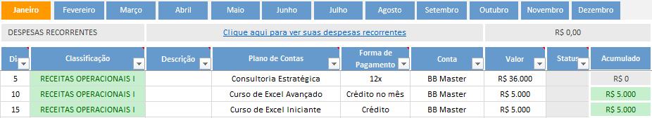 como controlar formas de pagamento no fluxo de caixa - credito para 30 dias