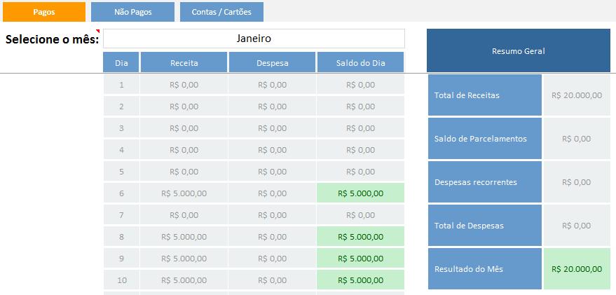 como controlar formas de pagamento no fluxo de caixa - resumo de lancamentos diario