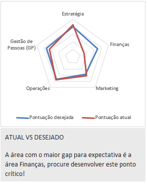 como interpretar os resultados de um diagnostico empresarial - grafico de pontuacao atual x desejada