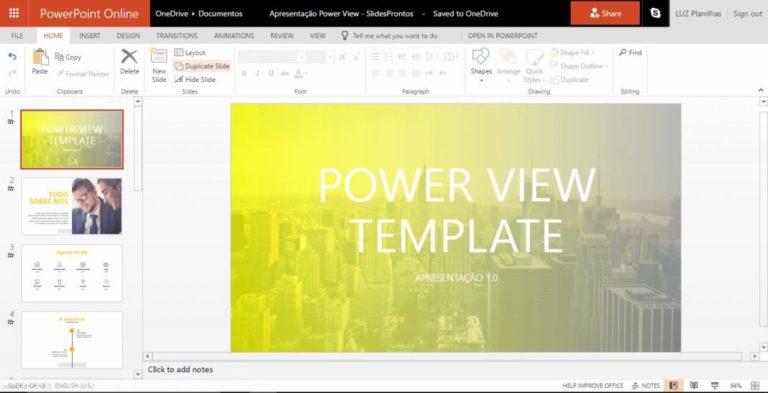 como-fazer-slide-online-powerpoint-online-com-slide-aberto