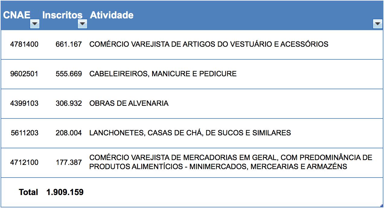 Top 5 CNAEs cadastrados no MEI