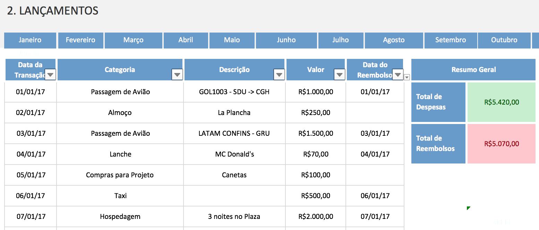 Controle de Reembolso de Despesas no Excel 1