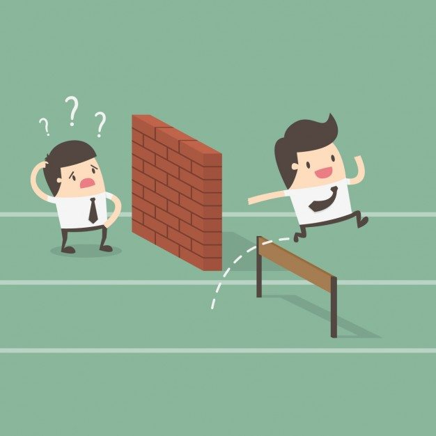 sales process - two employees with obstacles in their way