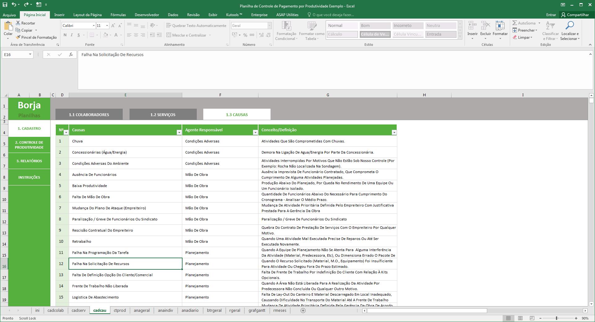 Planilha de Controle de Pagamentos por Produtividade - Cadastro de causas