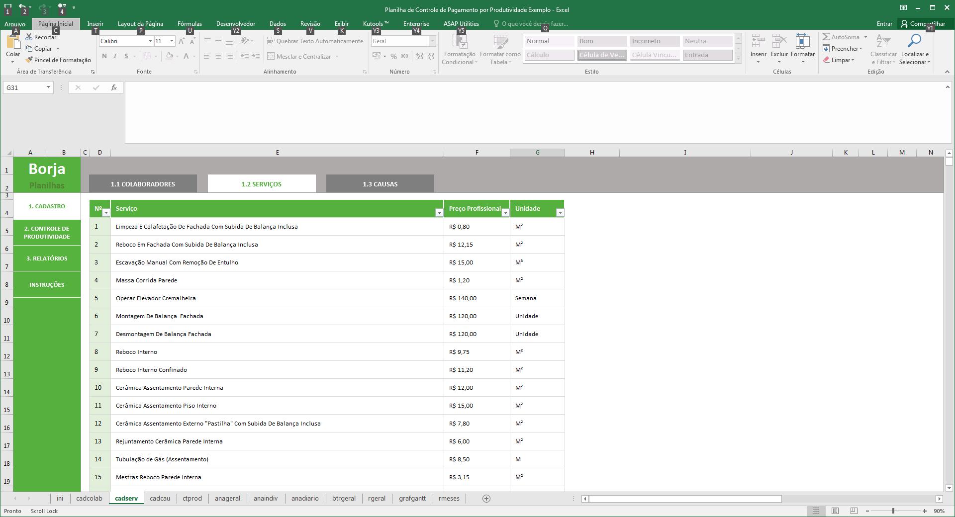 Planilha de Controle de Pagamentos por Produtividade - Cadastro dos serviços