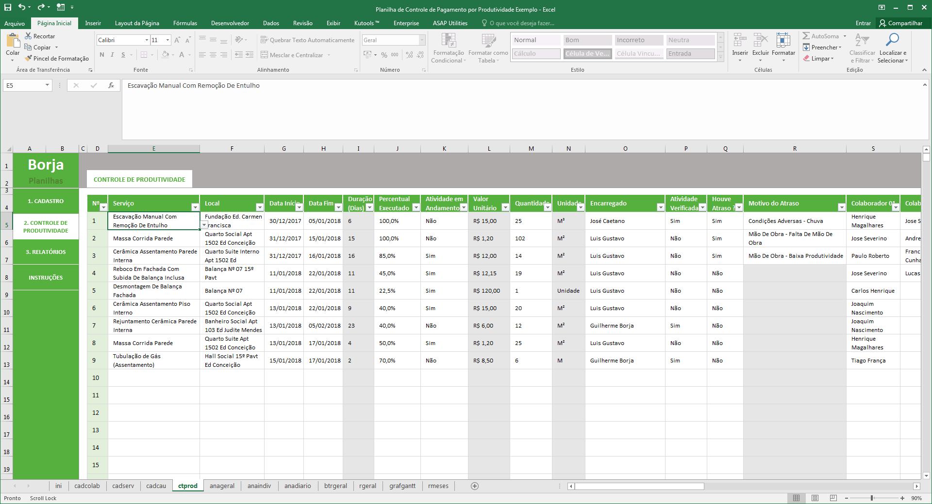 Planilha de Controle de Pagamentos por Produtividade - Controle de produtividade