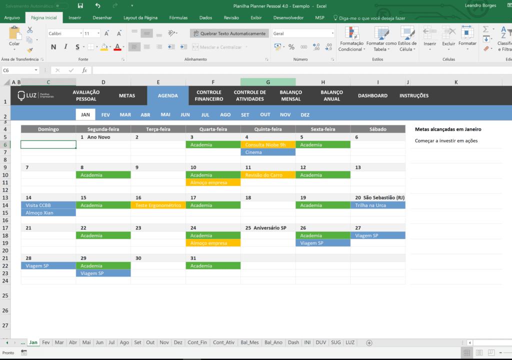 Como Usar uma Agenda Planner no Excel 2