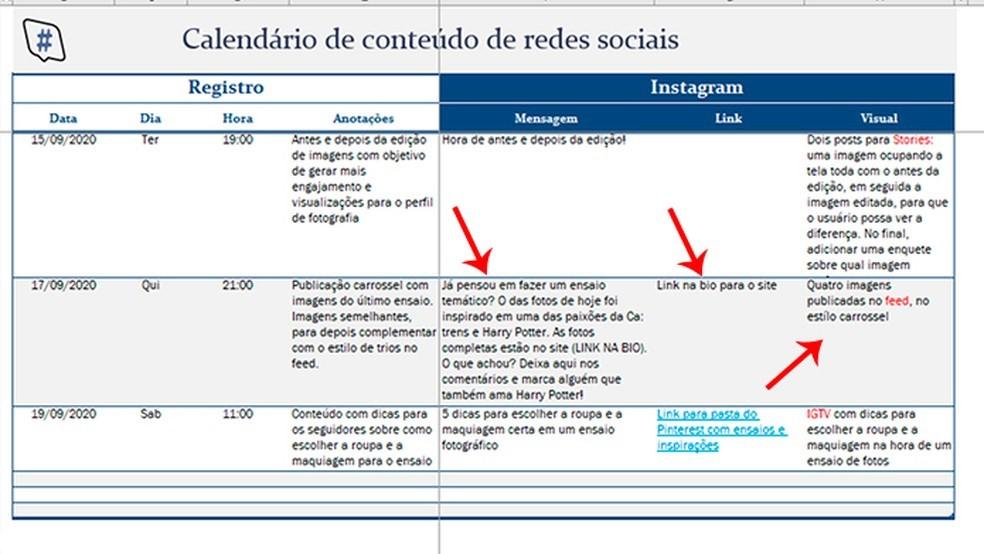 Cronograma de postagens no Instagram: como se organizar com o Excel 5
