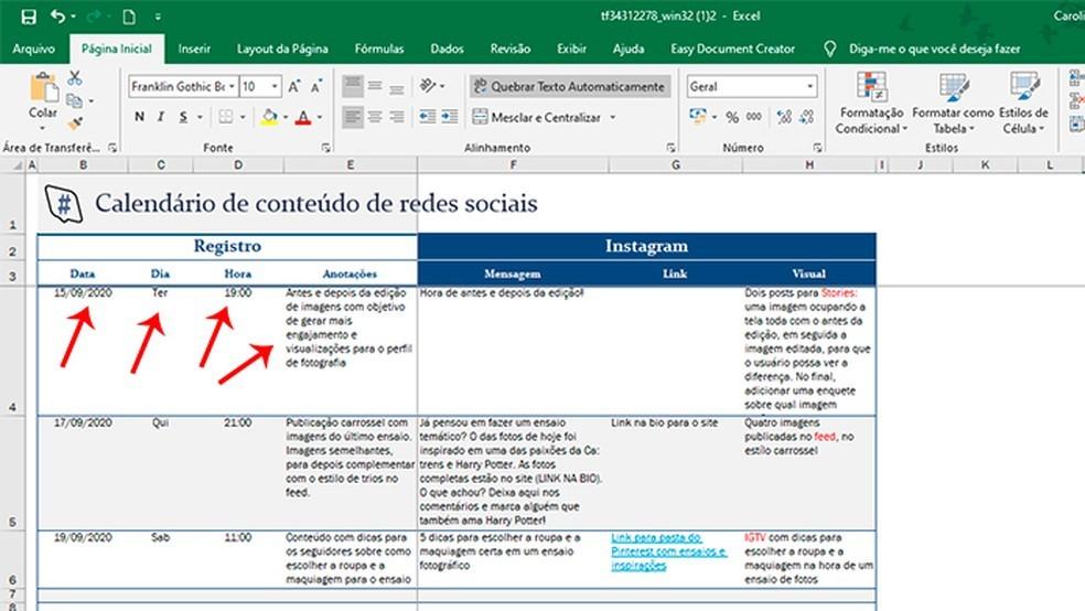 Cronograma de postagens no Instagram: como se organizar com o Excel 4