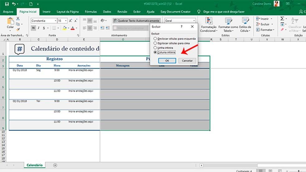 Cronograma de postagens no Instagram: como se organizar com o Excel 3